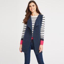 chaleco de lana azul marino sin mangas de diseño