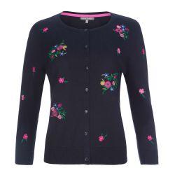 chaqueta de punto azul marino, cuello redondo y flores bordadas de diseño