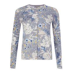 chaqueta de algodón estampada de flores gris