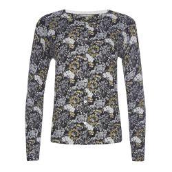 chaqueta de algodón estampada con diseño de flores en tonos grises y amarillos
