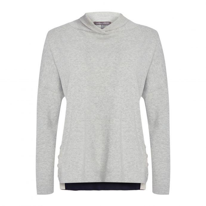 jersey de algodón gris plata de diseño original doble largo