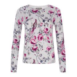 jersey de algodón estampado de pájaros de diseño