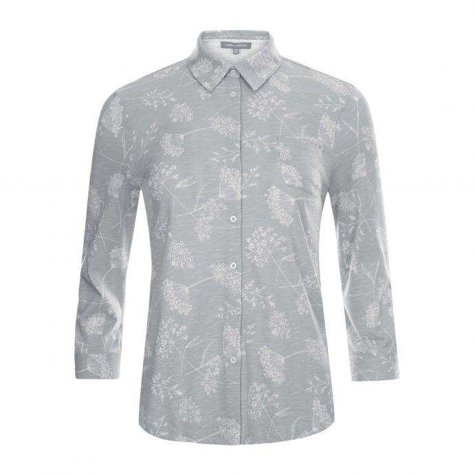 camisa gris de algodón estampada con flores en color gris de diseño