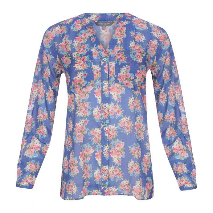 blusa azul con estampado de flores de diseño