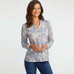 blusa ligera de algodón gris con estampado de flores de diseño