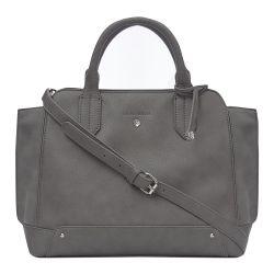 bolso de mano gris de diseño elegante