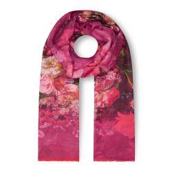 pañuelo reversible rojo estampado con flores de diseño