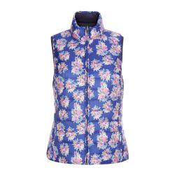 chaleco reversible azul de flores de diseño