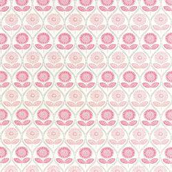 tejido de algodón estampado con flores de diseño retro en gris y rosa