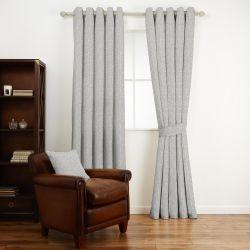 tela de algodón con diseño clásico de hojas en gris