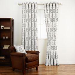 tejido de algodón estampado con flores de diseño retro en gris