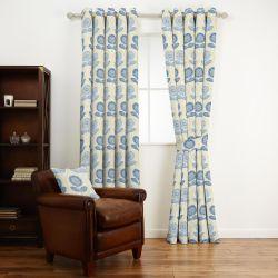 tejido de algodón estampado con flores de diseño retro en azul y amarillo