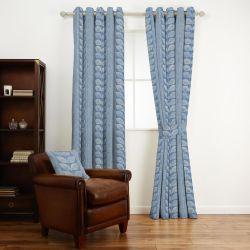 tejido de algodón estampado con hojas de diseño retro en azul