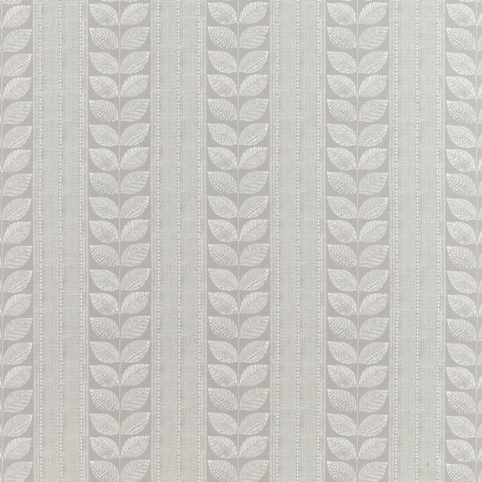 tejido de algodón estampado con hojas de diseño retro en color gris