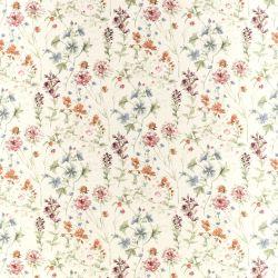 tejido de algodón estampado con flores silvestres de tonos rojos y verdes
