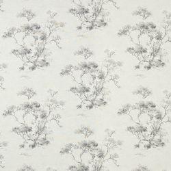 tela estampada con diseño de árboles con hojas en tonos grises