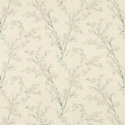 tela estampada con diseño de ramas con hojas y flores de color natural