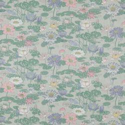 tela estampada de diseño con flores rosas y azules