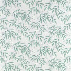 tela estampada de diseño con hojas verdes y bayas blancas