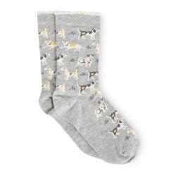 calcetines grises con perritos de diseño