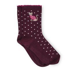 calcetines burdeos con gatitos de diseño