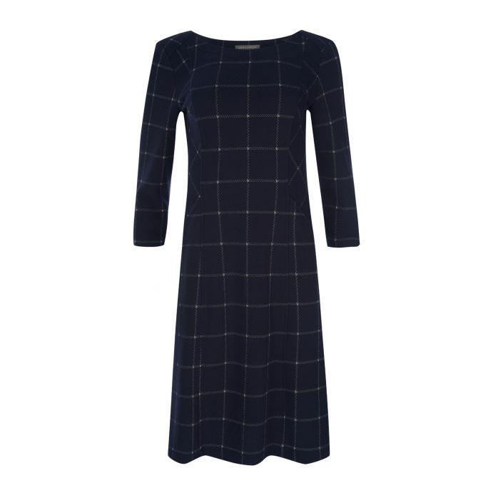 vestido azul marino de cuadros y manga 3/4 de diseño