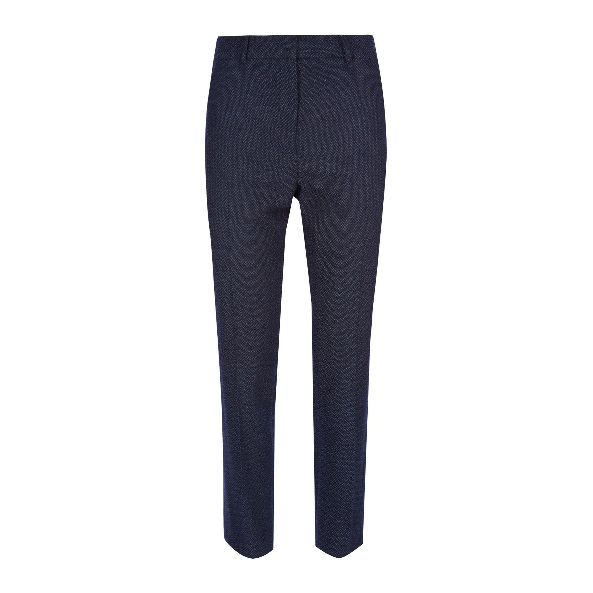 Pantalones elegantes de corte slim con diseño de espiga azul marino de