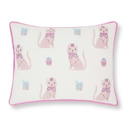 cojín blanco con gatitos bordados en rosa de diseño