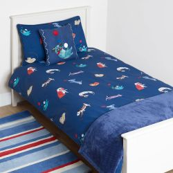 funda nórdica azul con animales