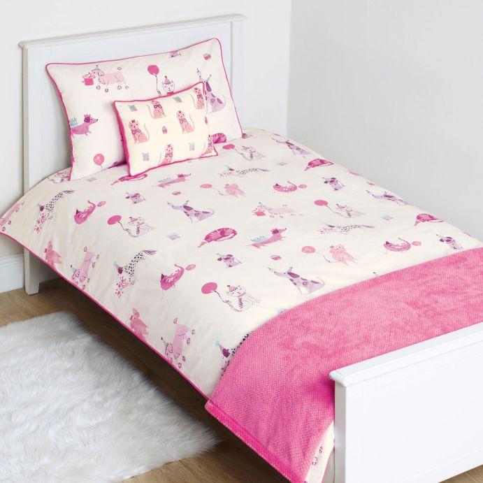 funda nórdica de animales en rosa