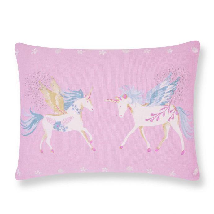 cojín de unicornios rosa