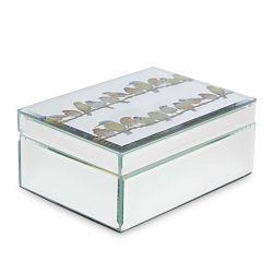 caja joyero de espejo con pajaros de diseño grabados