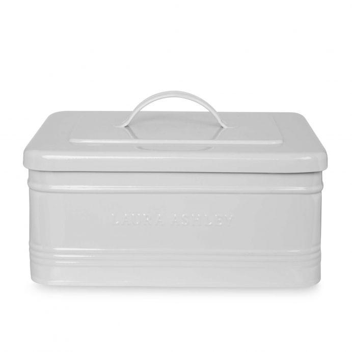 caja de metal gris con tapa y asa de diseño