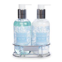 jabón y crema de manos con aroma a sal marino y flores en envase de diseño