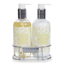 jabón y crema de manos con aroma a olivas y limones italianos en envase de diseño