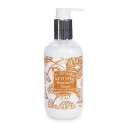 jabón y crema de manos con aroma a mandarina y jengibre en envase de diseño