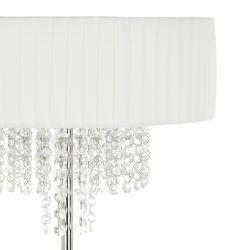 lámpara de suelo con pantalla de tela blanca plisada de diseño