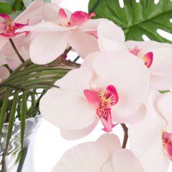 ramos de flores artificiales diseño de orquidea, eucalipto y palma
