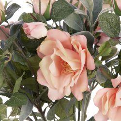ramo de rosas rosas en jarrón, flores artificiales de diseño