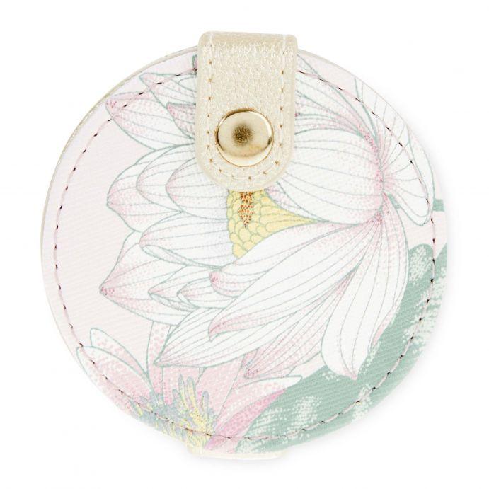 espejo redondo para bolso estampado con flores de diseño