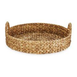 bandeja tipo cesta redonda en fibra natural de diseño