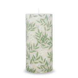 vela tipo columna con estampado de hojas y flores de diseño