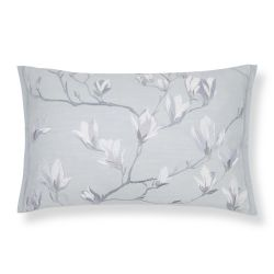 cojín gris bordado con flores de diseño