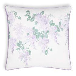cojín bordado con lilas de diseño