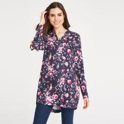 blusa larga túnica azul y rosa de diseño