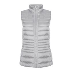 chaleco sin mangas plumas gris plata