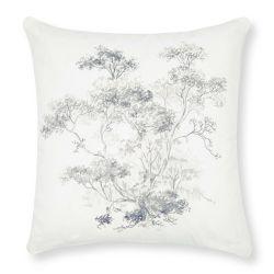 cojín bordado blanco con flores grises de diseño