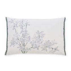 cojín bordado de diseño floral en tonos grises