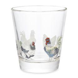 vaso de cristal con gallinas pollos gallos estampadas de diseño