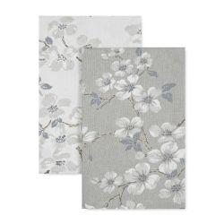 2 trapos de cocina coordinados con flores en algodón gris